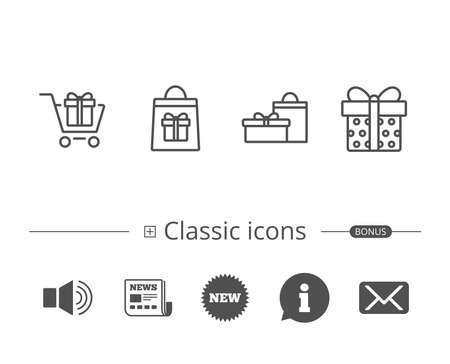 Gifts line icons. Present, Shopping cart and Bag signs. Information speech bubble sign. And more signs. Editable stroke. Vector