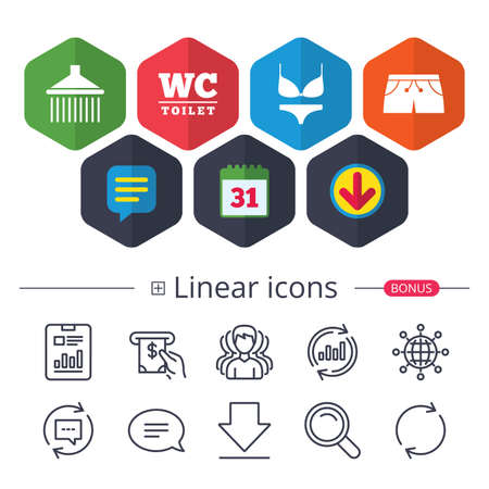 Calendar, Speech bubble and Download signs. Swimming pool icons. Shower water drops and swimwear symbols. WC Toilet sign. Trunks and women underwear. Chat, Report graph line icons. More linear signs Ilustração