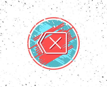 Grunge button with symbol. Delete line icon. Remove sign. Cancel or Close symbol. Random background. Vector