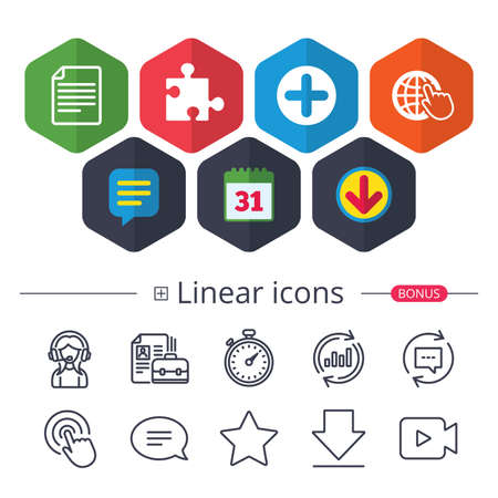 Calendar, Speech bubble and Download signs. Plus add circle and puzzle piece icons. Document file and globe with hand pointer sign symbols. Chat, Report graph line icons. More linear signs. Vector