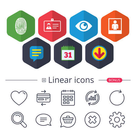 Calendar, Speech bubble and Download signs. Identity ID card badge icons. Eye and fingerprint symbols. Authentication signs. Photo frame with human person. Chat, Report graph line icons. Vector