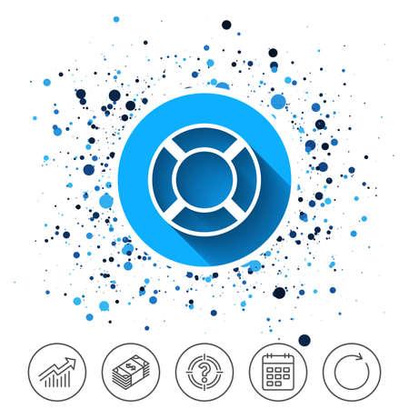 동그라미 배경에 단추입니다. Lifebuoy 기호 아이콘입니다. 생명 구원 상징. 일정 라인 아이콘입니다. 그리고 더 많은 줄 표지판. 무작위 서클들. 편집 가 일러스트