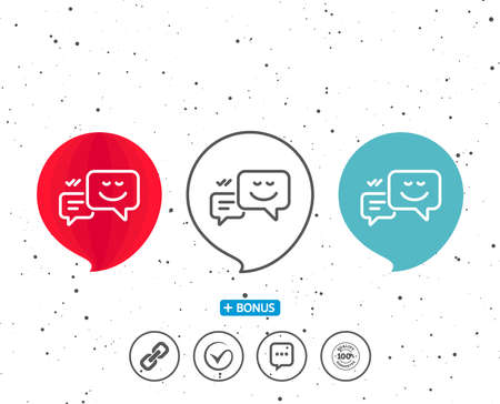 Speech bubbles with symbol. Message speech bubbles with Smile line icon. Chat emotion sign. Bonus with different classic signs. Random circles background. Vector