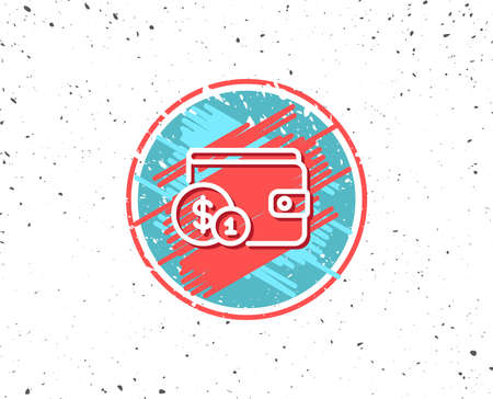 Grunge button with symbol. Wallet with Cash money line icon. Dollar currency sign. Payment method symbol. Random background. Vector