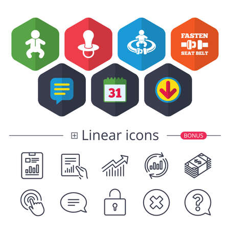 Calendar, Speech bubble and Download signs. Baby infants icons. Toddler boy with diapers symbol. Fasten seat belt signs. Child pacifier and pram stroller. Chat, Report graph line icons. Vector