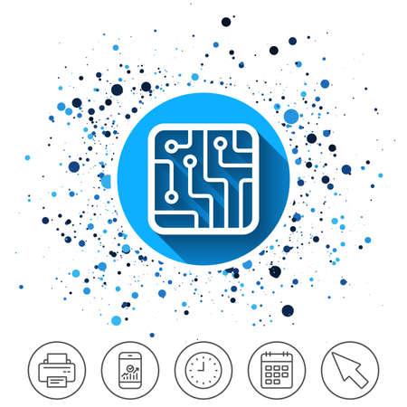 Button on circles background. Circuit board sign icon. Technology scheme square symbol. Calendar line icon. And more line signs. Random circles. Editable stroke. Vector Vektorové ilustrace