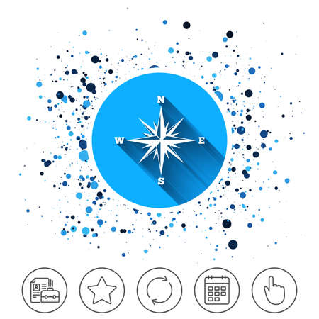 Button on circles background. Compass sign icon. Windrose navigation symbol. Calendar line icon. And more line signs. Random circles. Editable stroke. Vector