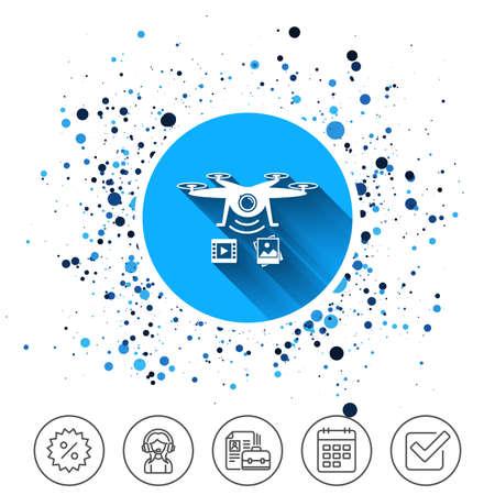 Botón en el fondo de círculos. Icono de Drone. Quadrocopter con símbolo de cámara de video y foto. Icono de línea de calendario. Y más signos de línea. Círculos aleatorios. Trazo editable Vector Foto de archivo - 90258091
