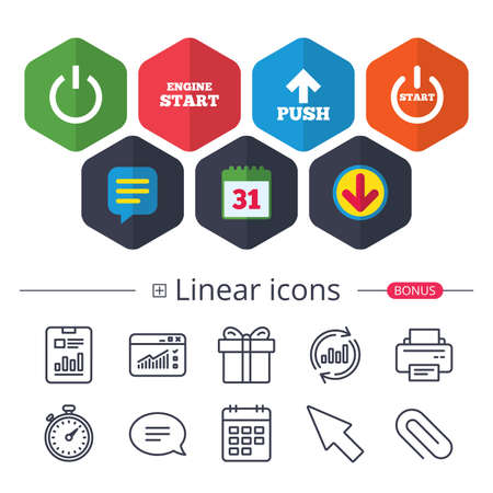 Calendar, Speech bubble and Download signs. Power icons. Start engine symbol. Push or Press arrow sign. Chat, Report graph line icons. More linear signs. Editable stroke. Vector