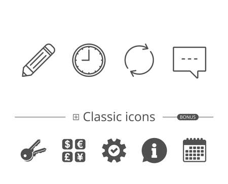 Speech bubble, Edit and Clock line icons. Rotation sign. Information speech bubble sign. And more signs. Editable stroke. Vector