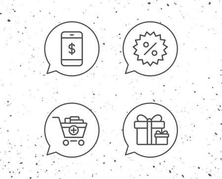 Bolle di discorso con segni. Icone linea carrello, sconto e smartphone. Segno di scatole regalo. Sfondo grunge Tratto modificabile. Vettore Archivio Fotografico - 90258108