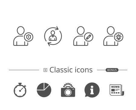 User, Edit profile and Security line icons. Businessman with idea symbols. Information speech bubble sign. And more signs. Editable stroke. Vector