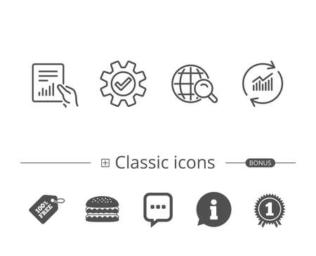 Analysis, Statistics line icons. Chart, Report and Internet search signs. Data and Presentation symbols. Information speech bubble sign. And more signs. Editable stroke. Vector