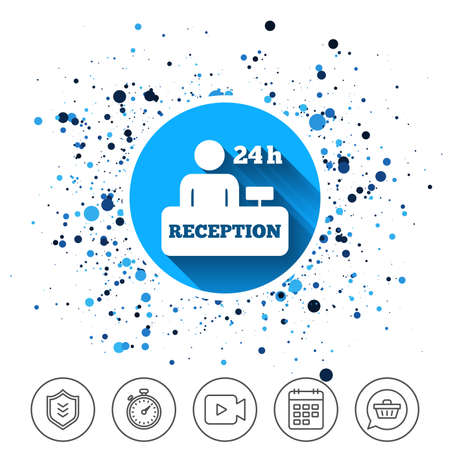Button on circles background. Reception sign icon. 24 hours Hotel registration table with administrator symbol. Calendar line icon. And more line signs. Random circles. Editable stroke. Vector
