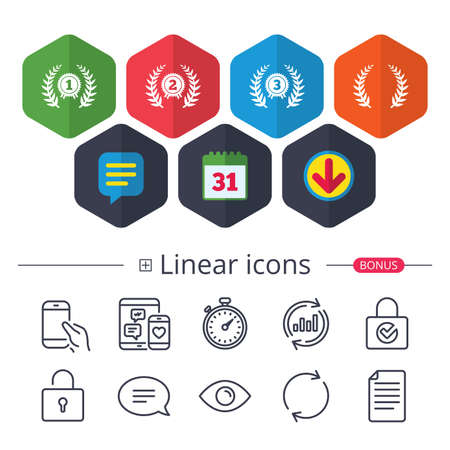Calendar, Speech bubble and Download signs. Laurel wreath award icons. Prize for winner signs. First, second and third place medals symbols. Chat, Report graph line icons. More linear signs. Vector