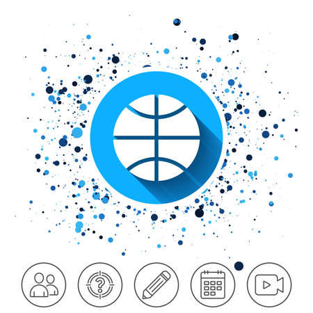 Button on circles background. Basketball sign icon. Sport symbol. Calendar line icon. And more line signs. Random circles. Editable stroke. Vector