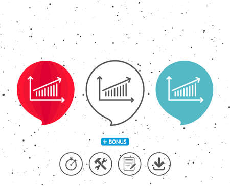 Speech bubbles with symbol. Chart line icon. Report graph or Sales growth sign. Analysis and Statistics data symbol. Bonus with different classic signs. Random circles background. Vector