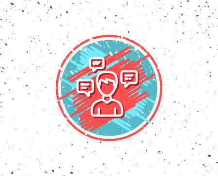 Grunge button with symbol. Chat Messages line icon. Conversation sign. Communication speech bubbles symbol. Random background. Vector Ilustrace