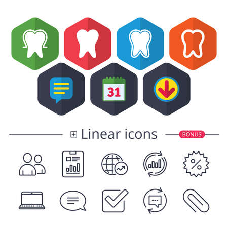 Calendar, Speech bubble and Download signs. Tooth enamel protection icons. Dental toothpaste care signs. Healthy teeth sign. Chat, Report graph line icons. More linear signs. Editable stroke. Vector