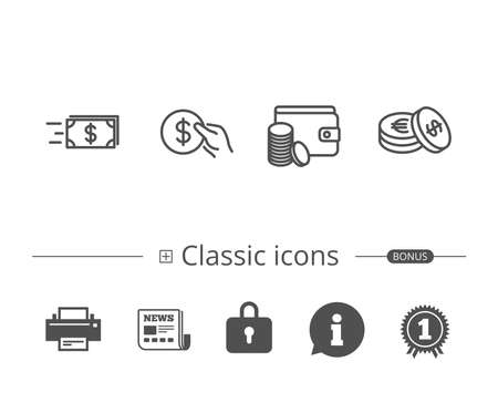 Money transfer, Cash and Wallet line icons. Illustration