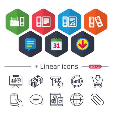 Accounting report icons.