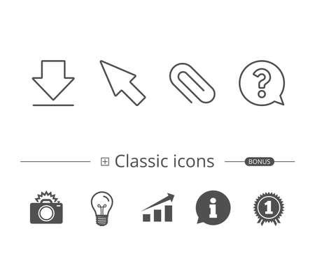 添付ファイルのクリップとカーソル行のアイコン。  イラスト・ベクター素材