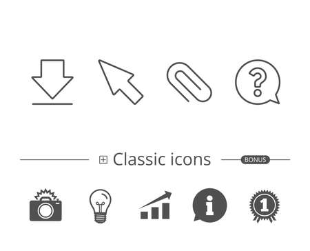 Attachment clip and Cursor line icons. Ilustrace