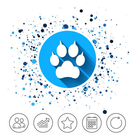 Dog paw with clutches sign icon.