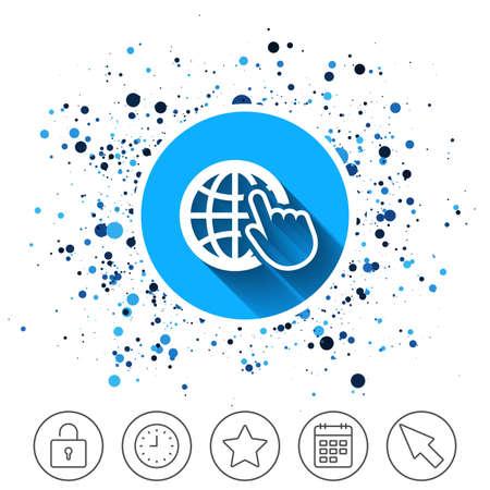 Button on circles background. Internet sign icon. World wide web symbol. Cursor pointer. Calendar line icon. And more line signs. Random circles. Editable stroke. Vector Vectores