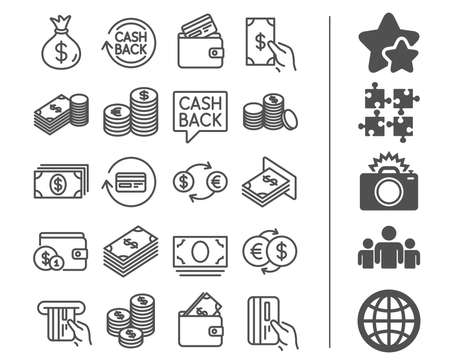 Money line icons. Set of Banking, Wallet and Coins signs. Credit card, Currency exchange and Cashback service. Euro and Dollar symbols. Bonus classic signs. Editable stroke. Vector