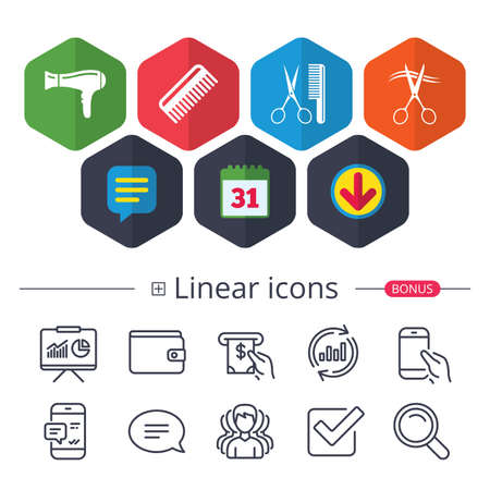Calendar, Speech bubble and Download signs. Hairdresser icons. Scissors cut hair symbol. Comb hair with hairdryer sign. Chat, Report graph line icons. More linear signs. Editable stroke. Vector Illustration
