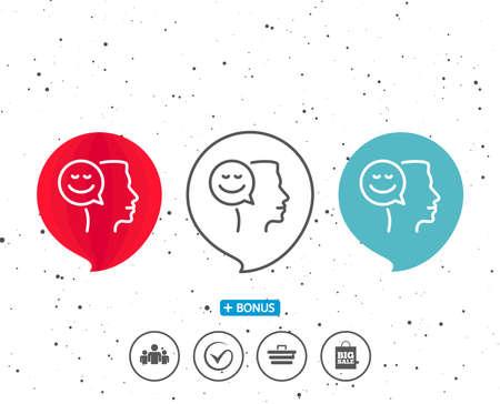 연설 거품 기호입니다. 긍정적 인 생각 줄 아이콘입니다. 인간의 의사 소통 기호입니다. 미소 채팅 기호입니다. 다른 고전적인 표시가있는 보너스. 무