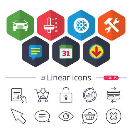 Calendar, Speech bubble and Download signs. Transport icons. Car tachometer and automatic transmission symbols. Repair service tool with wheel sign. Chat, Report graph line icons. More linear signs 向量圖像