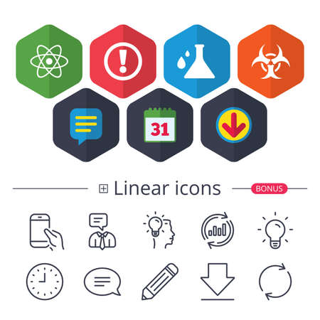 Calendar, Speech bubble and Download signs. Attention and biohazard icons. Chemistry flask sign. Atom symbol. Chat, Report graph line icons. More linear signs. Editable stroke. Vector