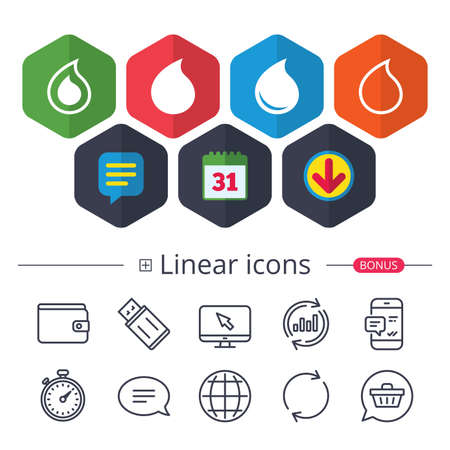 Calendar, Speech bubble and Download signs. Water drop icons. Tear or Oil drop symbols. Chat, Report graph line icons. More linear signs. Editable stroke. Vector