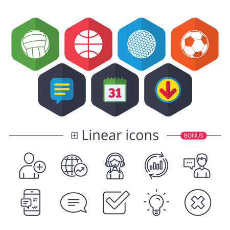 Calendar, Speech bubble and Download signs. Sport balls icons. Volleyball, Basketball, Soccer and Golf signs. Team sport games. Chat, Report graph line icons. More linear signs. Editable stroke Illustration