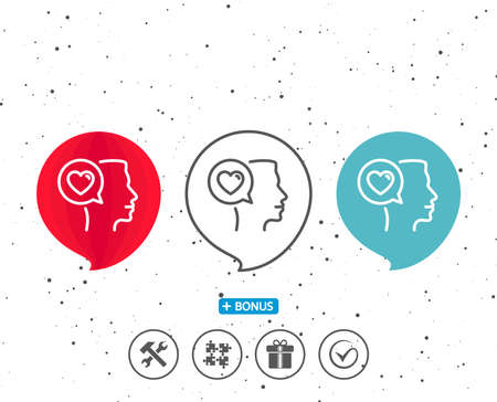 Speech bubbles with symbol. Love chat line icon. Heart symbol. Valentines day communication sign. Bonus with different classic signs. Random circles background. Vector Reklamní fotografie - 90512416