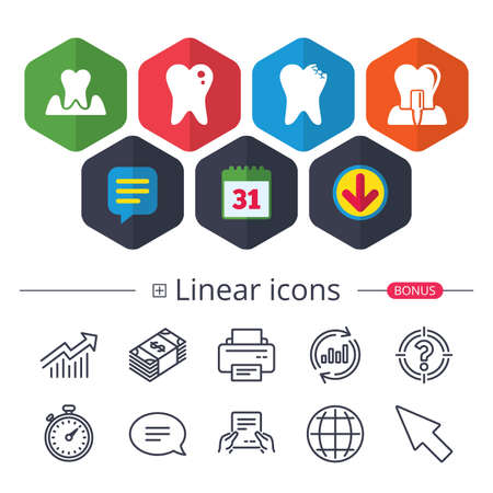 Calendar, Speech bubble and Download signs. Dental care icons. Caries tooth sign. Tooth endosseous implant symbol. Parodontosis gingivitis sign. Chat, Report graph line icons. More linear signs