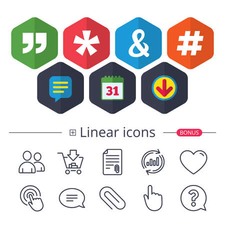 Calendar, Speech bubble and Download signs. Quote, asterisk footnote icons. Hashtag social media and ampersand symbols. Programming logical operator AND sign. Chat, Report graph line icons. Vector Illustration
