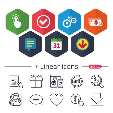 Calendar, Speech bubble and Download signs. ATM cash machine withdrawal icons. Click here, check PIN number, processing and cash withdrawal symbols. Chat, Report graph line icons. More linear signs Illustration