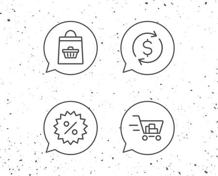 Speech bubbles with signs. Shopping cart, Discount and Dollar line icons. Update currency sign. Grunge background. Editable stroke. Vector