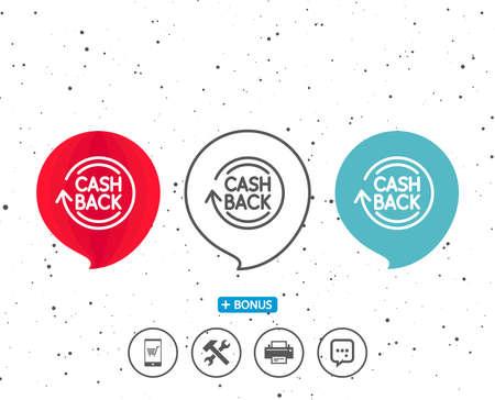 연설 거품 기호입니다. Cashback 서비스 라인 아이콘. 돈 전송 기호입니다. 회전 화살표 기호입니다. 다른 고전적인 표시가있는 보너스. 무작위 서클 배경 일러스트