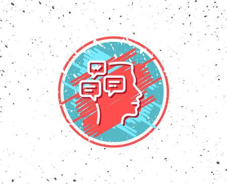 Grunge button with symbol. Chat Messages line icon. Conversation sign. Communication speech bubbles symbol. Random background. Vector Illustration