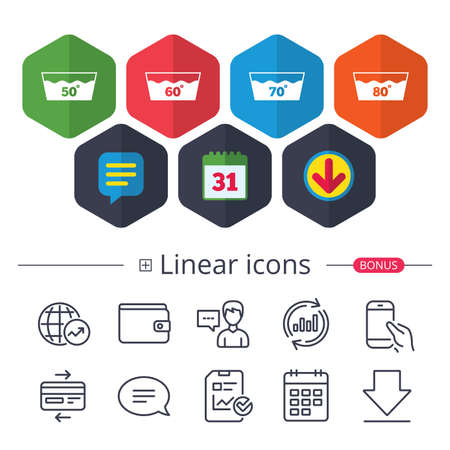 Calendar, Speech bubble and Download signs. Wash icons. Machine washable at 50, 60, 70 and 80 degrees symbols. Laundry washhouse signs. Chat, Report graph line icons. More linear signs. Vector Illustration