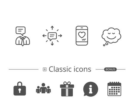 Message, Comic speech bubble and Communication line icons. Social media like, Conversation and SMS signs. Information speech bubble sign. And more signs. Editable stroke. Vector