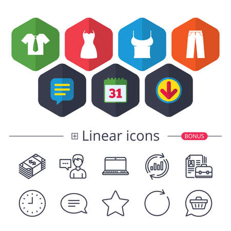 Calendar, Speech bubble and Download signs. Clothes icons. T-shirt with business tie and pants signs. Women dress symbol. Chat, Report graph line icons. More linear signs. Editable stroke. Vector