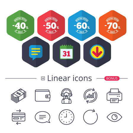 Calendar, Speech bubble and Download signs. Sale discount icons. Special offer stamp price signs. 40, 50, 60 and 70 percent off reduction symbols. Chat, Report graph line icons. More linear signs