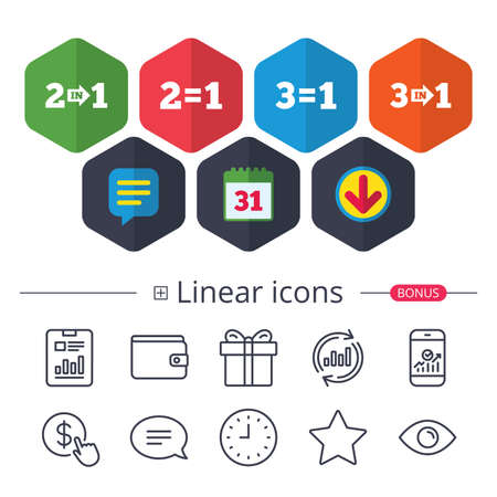 Calendar, Speech bubble and Download signs. Special offer icons. Take two pay for one sign symbols. Profit at saving. Chat, Report graph line icons. More linear signs. Editable stroke. Vector Illustration