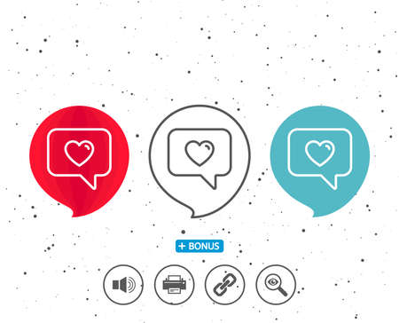 Speech bubbles with symbol. Heart in Speech bubble line icon. Love chat symbol. Valentines day communication sign. Bonus with different classic signs. Random circles background. Vector