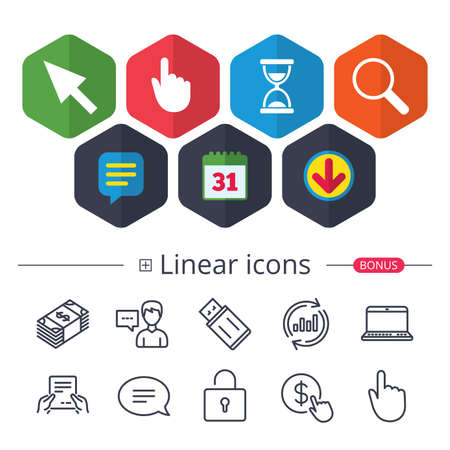 Calendar, Speech bubble and Download signs. Mouse cursor and hand pointer icons. Hourglass and magnifier glass navigation sign symbols. Chat, Report graph line icons. More linear signs. Vector Illustration